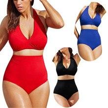 2019 Pin Up Plus Size Swimwear Hot Sale Sexy Women Swimwear High Neck Push up Bikini Set High Waisted Bathing Suits