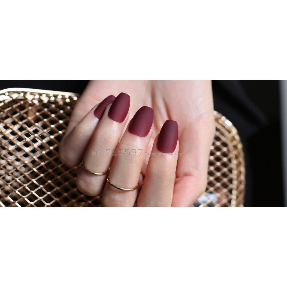 Tanphon.com | Matte Burgundy Coffin False Nails Gray Pure Blue ...