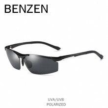 BENZEN Polarized Sunglasses Men Al-Mg Sun Glasses Male Driving Glasses UV 400 Shades Goggles Black With Case 9206