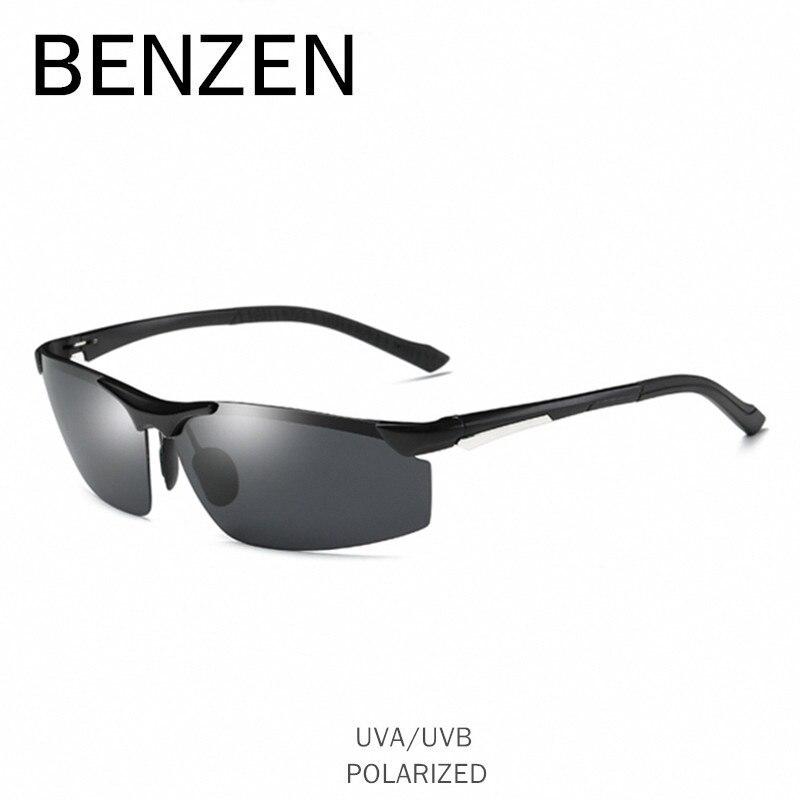 BENZEN Polarizované sluneční brýle Pánské sluneční brýle Al-Mg, sluneční brýle, brýle na brýle UV 400, černé brýle s pouzdrem 9206