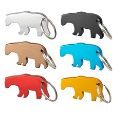 TEMLUM 6 Pcs/ 6colors Bear Custom Personalized Beer Bottle Opener Keychains Aluminum Alloy Bottle Opener keychain Wedding Favor