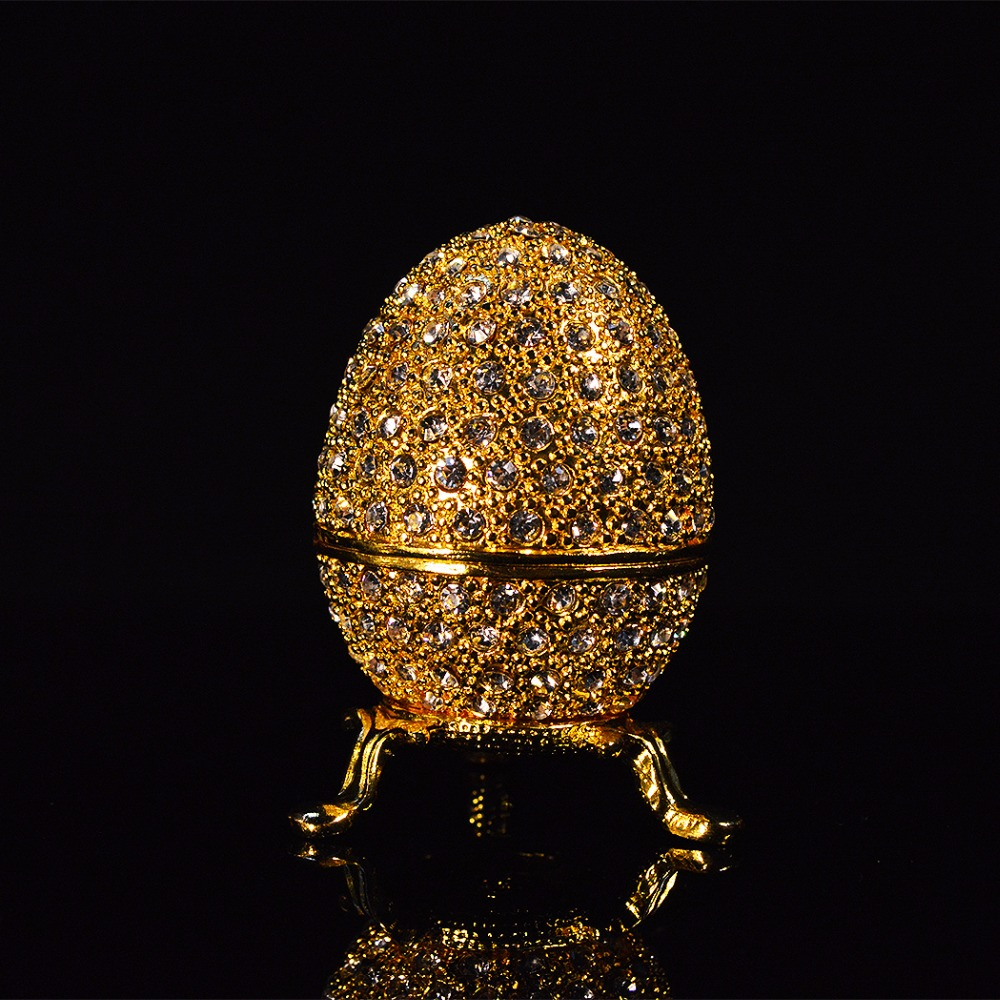 QIFU Hot Selling Metal Gold Stone Easter Egg And Faberge Egg Crafts Ornaments