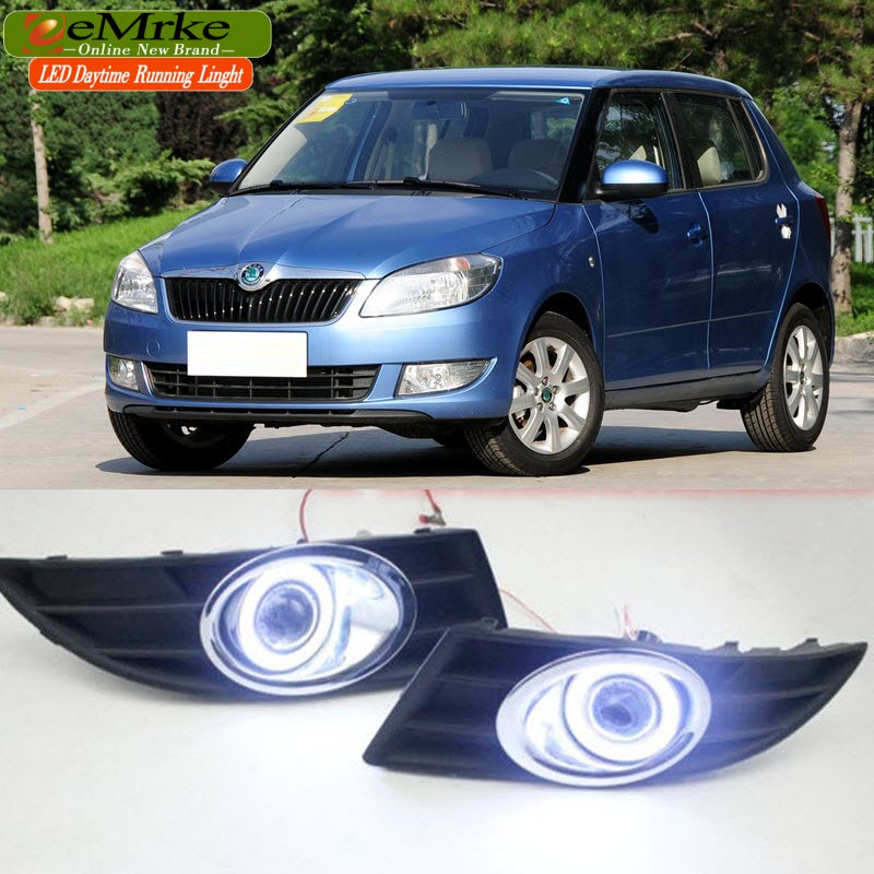eeMrke For Skoda Fabia 2012 2013 2o14 LED Angel Eyes DRL Daytime Running Lights Halogen H11 55W Fog Lights eemrke for toyota vios yaris belta 2007 2013 led angel eye drl daytime running light halogen yellow h11 55w fog lights