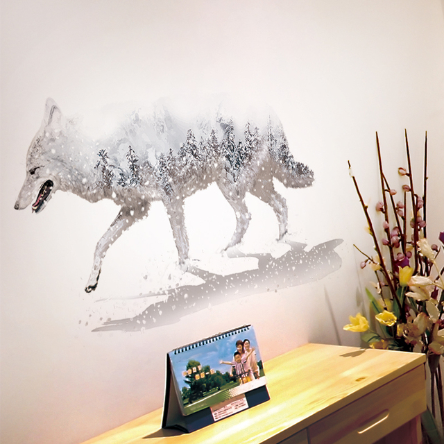 Shijuehezi White Snowy Wolf Wall Stickers Pvc Material Diy Decals For Kids Rooms