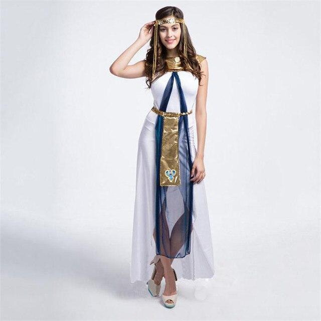 98e37fd57b 2018 bajki grecka bogini kostiumy egipska królowa kleopatra kostium  Halloween Party Cosplay ubrania Sexy biały emiraty