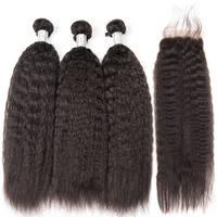 Megalook Brazilian Yaki Straight Human Hair Bundles with Lace Closure 100% Human Hair Weave with 4X4 Lace Closure 3pcs+1 Closure