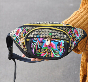 Hot Nuevos bolsos de La Cintura! Vintage bordado Étnico bordado bolsa de lona paquetes de la cintura del brazo portátil de viaje bolsas de hombro soporte