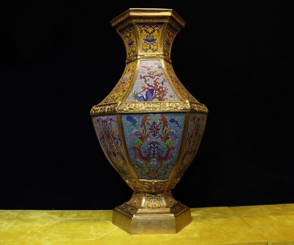 """23 """"chinese Reine Bronze Cloisonné 24 K Gold Dragon Phoenix Blume Vogel Topf Vase Mangelware"""