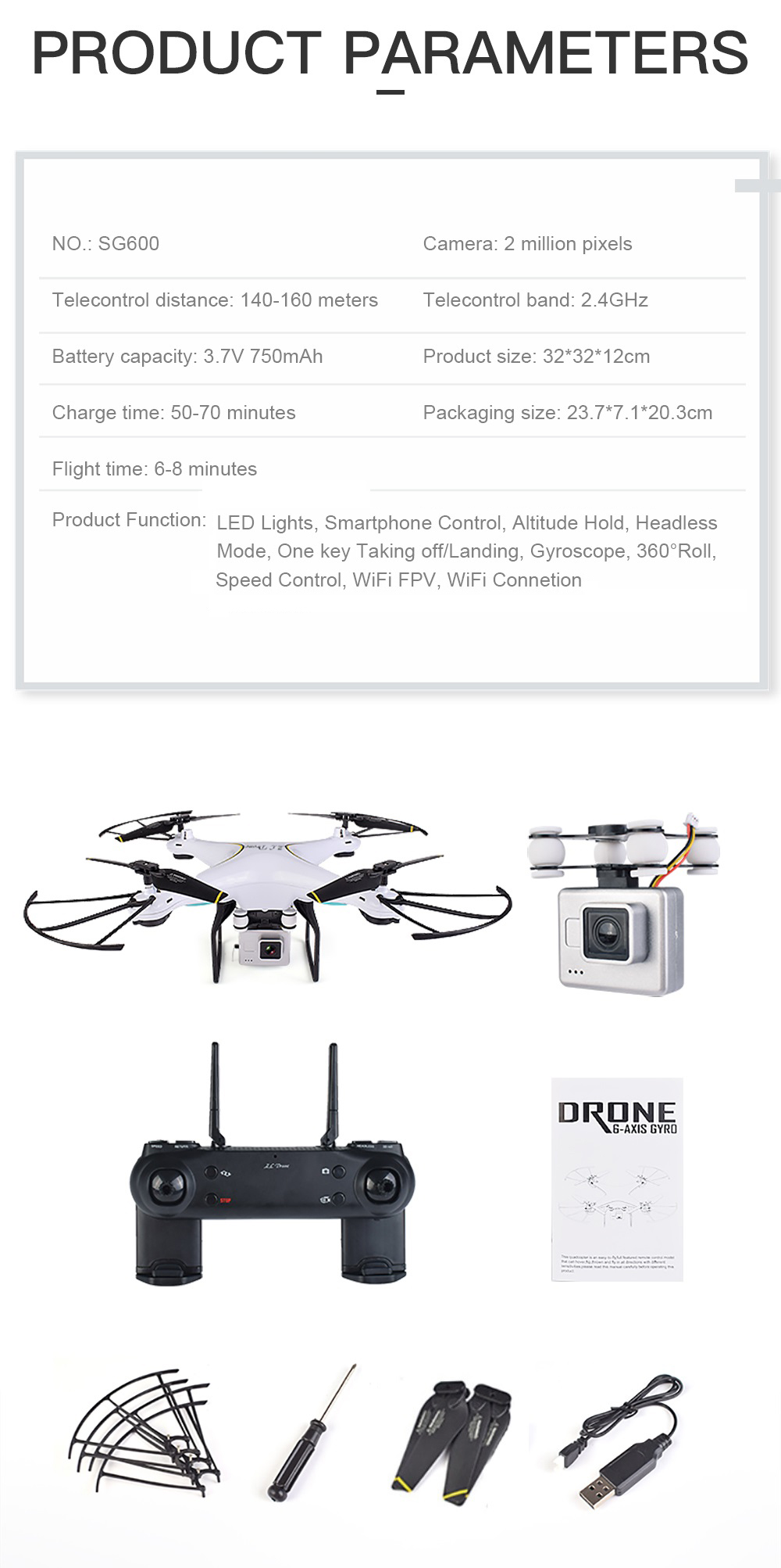 Teeggi SG600 FPV RC Drone With 2MP 7P WiFi HD Camera Quadcopter Altitude Hold A Key Return Helicopter VS X5SW X5HW Dron 14