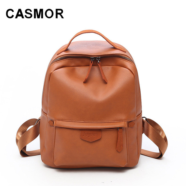 d7a96ed158 CASMOR Solid Color Student Backpacks 2018 Leather Women School Bag For Teenage  Girls High School Backpack Young Female Fashion