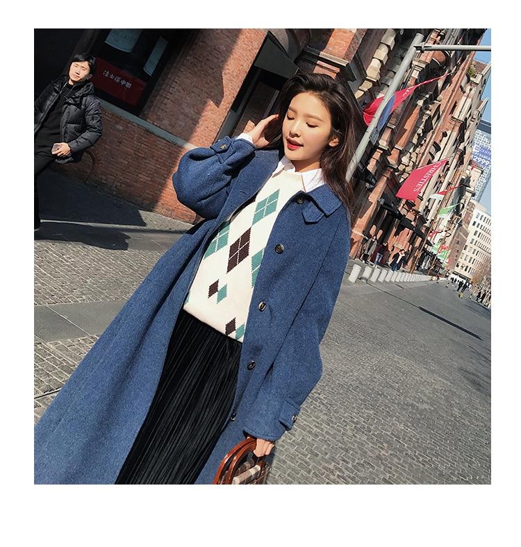 Pardessus Épaissie Manteaux Élégant Lâche Cachemire Chaud Mélange Dames Long Bleu Mode Femmes Outwear Laine vent D'hiver De Manteau Coupe axzqPw0fg