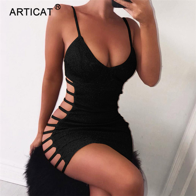 Articat Side Hollow Out Sexy Bodycon Bandage Dress Women Spaghetti Strap V Neck Mini Summer Dress Casual Party Dress Vestidos 2