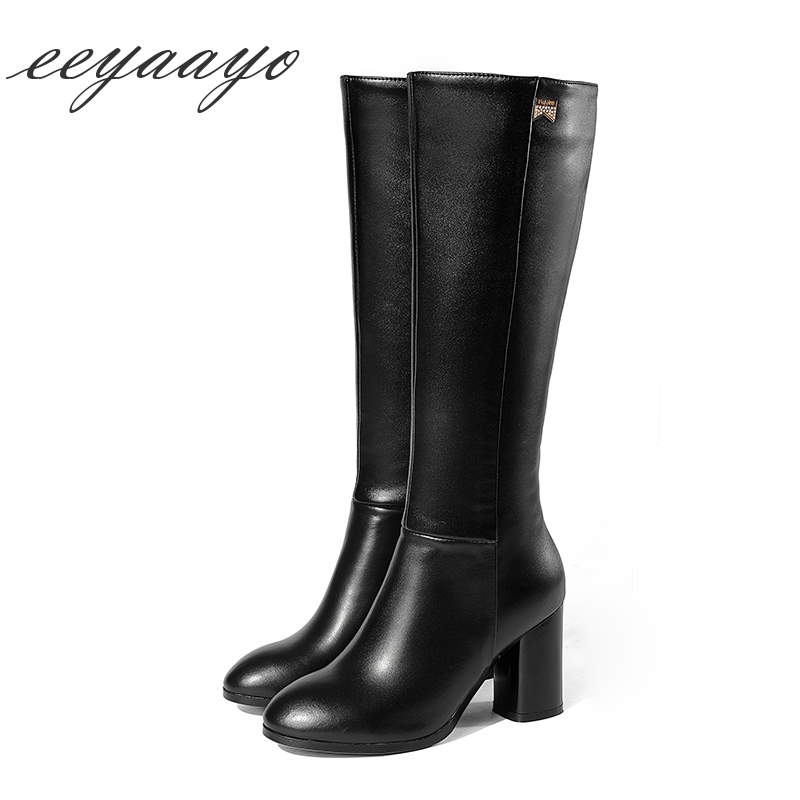 New Genuine Leather Winter Women Knee-High Boots High Heels Round Toe Zip Sexy Ladies Shoes Black Woman Cow Leather high Boots коврик для йоги onerun цвет фиолетовый 183 х 61 х 0 4 см