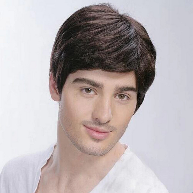 European Human Real Hair Wigs Mens Short Full Wig Hairpiece Toupees For Man Free Shipping In Mens Costumes From Novelty Special Use On