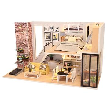 Doll House Furniture Miniature Dollhouse DIY Miniature House Room Box Theatre Toys for Children Stickers DIY Dollhouse фото