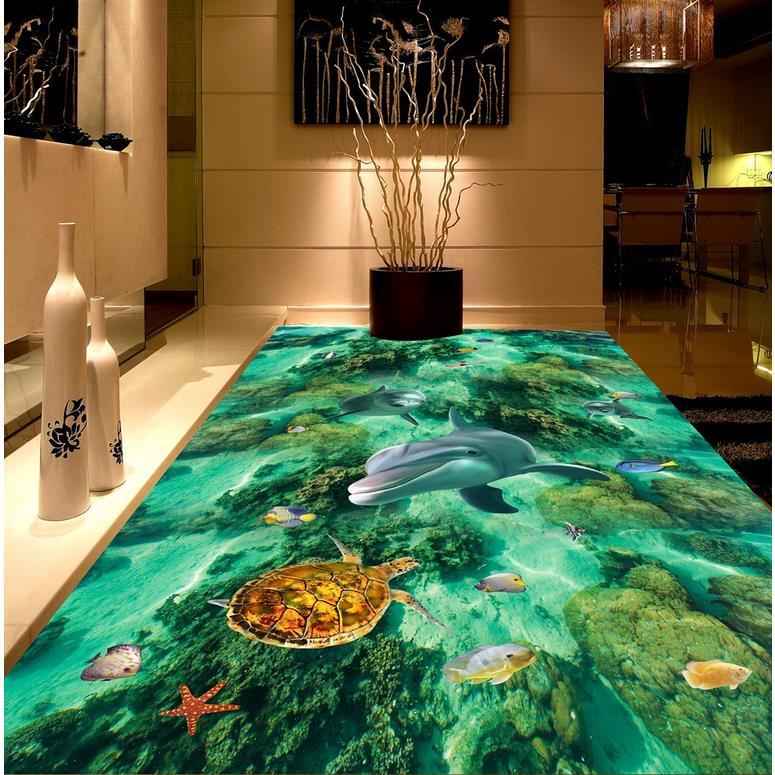 Home Decoration ocean dolphin 3D room wallpaper floor Photo wallpaper mural floor Custom photo floor wallpaper 3d beibehang custom photo floor painted