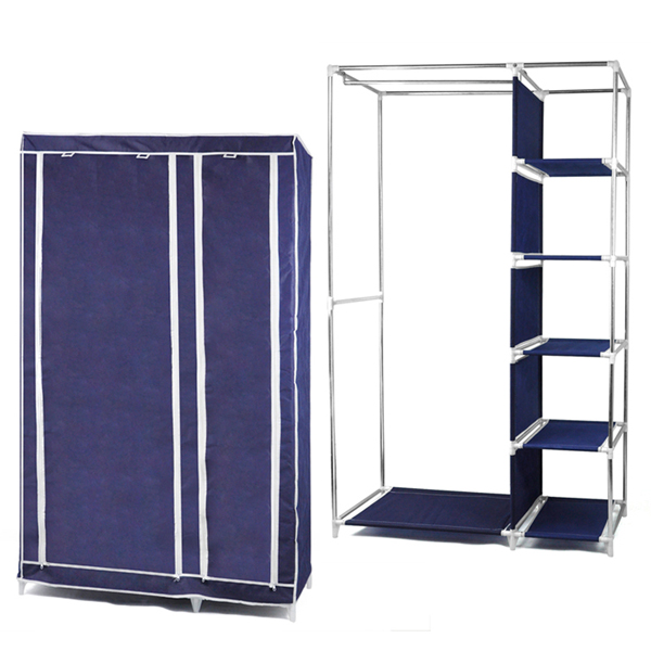 Foldable Double Canvas Wardrobe Clothes Rail Hanging Storage Cupboard Shelves - Dark Blue 李小猫传奇1