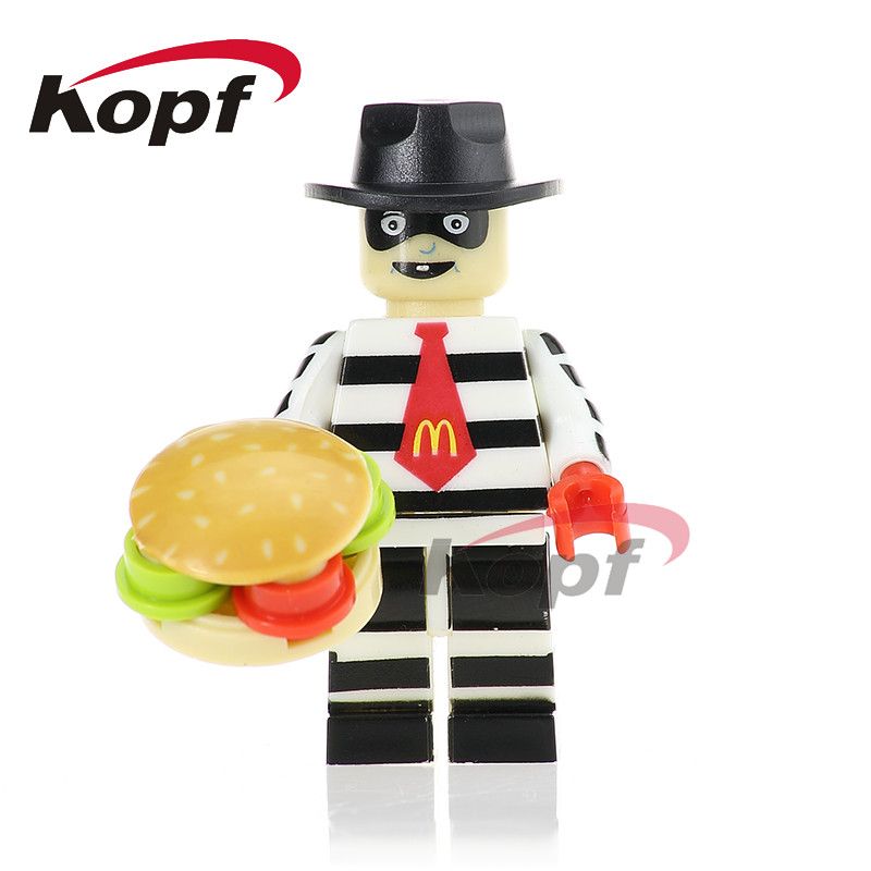 Single Sale PG349 Super Heroes Hamburglar with Funny Face Classic Ronald McDonald with Joker's Face Building Blocks Kids Toys projector lamp bulb an xr20l2 anxr20l2 for sharp pg mb55 pg mb56 pg mb56x pg mb65 pg mb65x pg mb66x xg mb65x l with houing