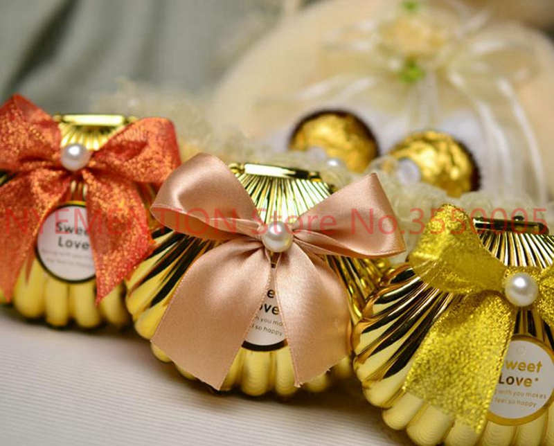 Sea Shell wedding party favor holder chocolate gift candy boxes with butterfly knot Wedding Party shower Favors gifts 500pcs