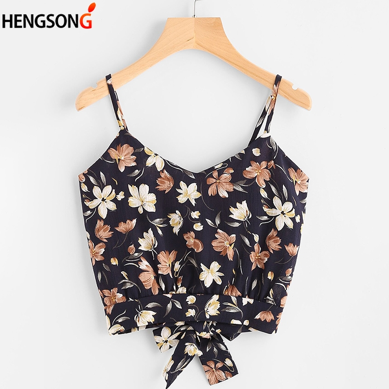 HENGSONG New Arrival Bohemian Women Floral Print Vest Tops Women Sexy Backless Short Tops Summer Camisole 738111