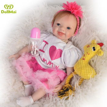 Bebe Doll Reborn Juguetes  55cm adorable girl princess silicone baby dolls toys for child birthday gift newborn bebes reborn