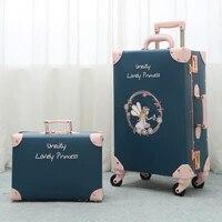 2021 neue Vintage Floral PU Reisetasche Roll Gepäck sets,13