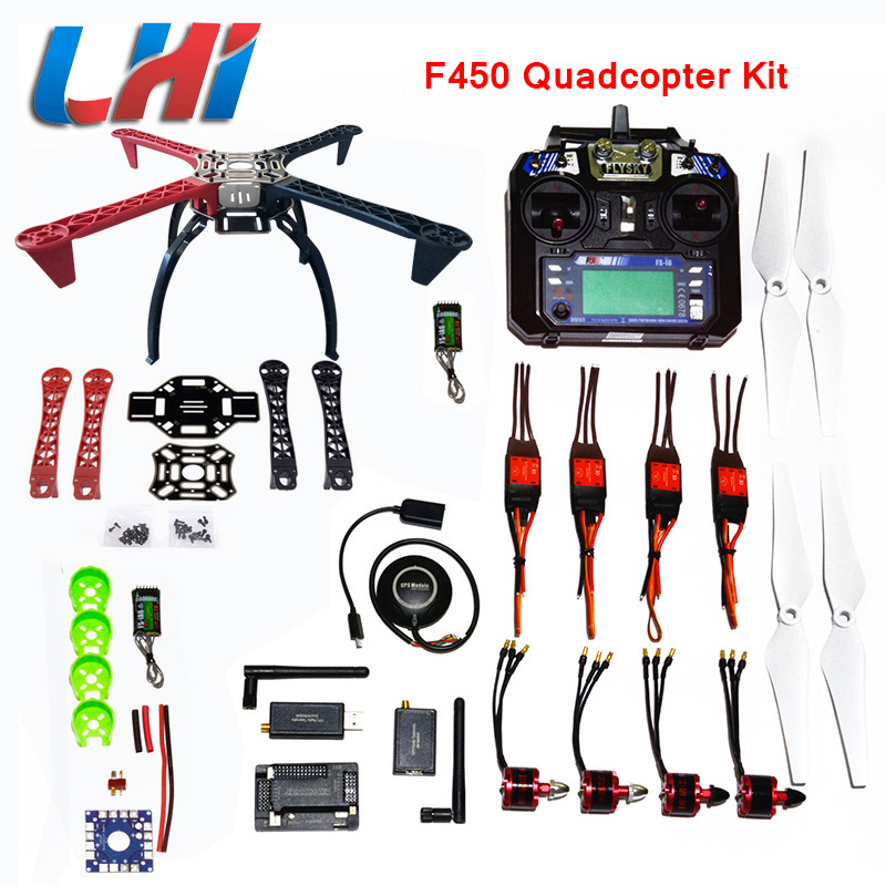 DIY Kit Quadcopter F450 APM2.6 LHI e 6 m 7 m N8M GPS APM2.8 Quadro Helicóptero Cremalheira do motor brushless