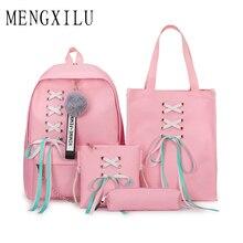 High Quality 4pcs/Set Laptop School Backpacks for Girls Boys Teenagers Female Bagpack Sac A Dos Femme Cute Canvas Satchel Kids