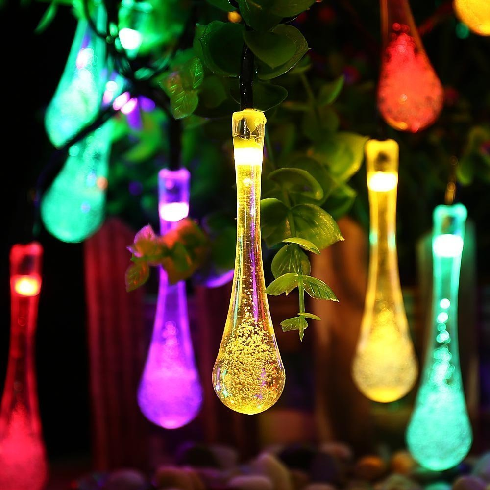 Solar Outdoor String Lights 20LED Water Drop Fairy Waterproof Christmas Powered lights