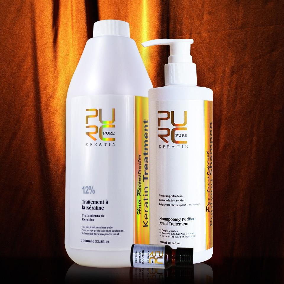 Queratina 12 % de enderezamiento 1000ml formalina queratina del cabello y champú para el pelo cleanning profunda reciben el cuidado del cabello y cuidado de la piel aceite de argán-in Tratamientos de cuero cabelludo y cabello from Belleza y salud    2