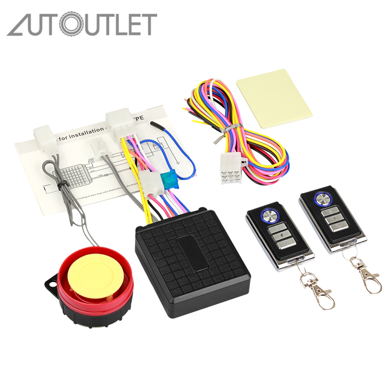 AUTOUTLET Motorcycle Motorbike Bike Anti Theft Security Alarm Remote Start Sensor System With Remote Control Motor Alarm System