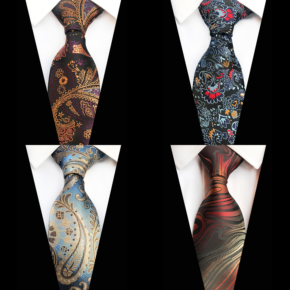 GUSLESON Luxury 8cm Tie Floral Plaid Paisley Jacquard Woven Classic Men Neck Ties Wedding Party Gravatas Groom Silk Necktie