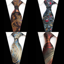 GUSLESON Luxury 8cm Tie Floral Plaid Paisley Jacquard Woven Classic Men Neck Ties Wedding Party Gravatas Groom Silk Necktie
