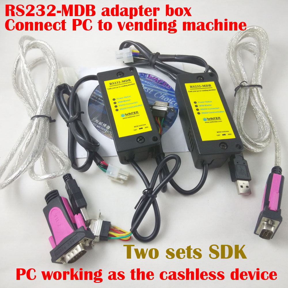 The PC to MDB adapter box, working with bill acceptor and coin validator to existing vending machine access controller