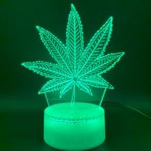 3D Illusion Led Night Light Lamp Botany Cannabis Marijuana Office Bar Room Decorative USB or Battery Powered Nightlight