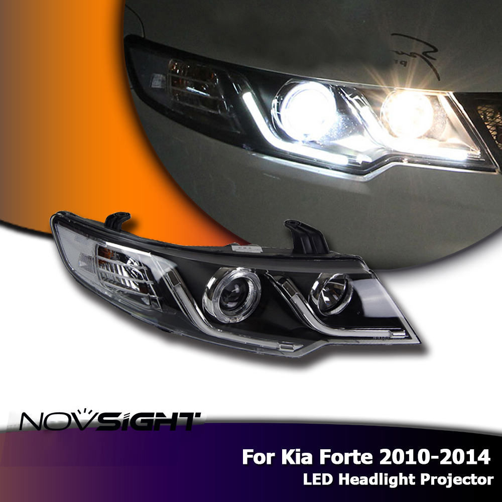 NOVSIGHT 2X LED Headlights Assembly Projector DRL Day Light with Turn Signal For Kia Forte 2010-2014