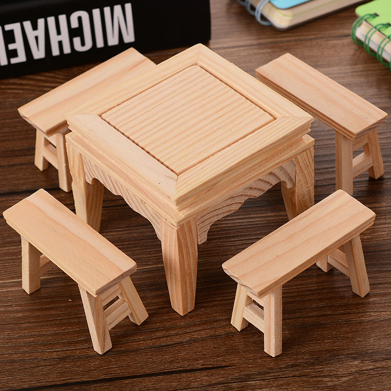 1SET=5Pcs Traditional Chinese Wooden Doll House Dollhouse Furnitures Scale  Miniature Models DIY Accessories Set