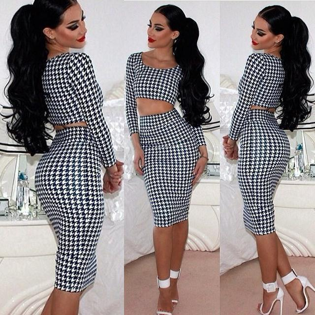 Hot Sales Sexy Plaid Black and White Women Houndstooth Long Sleeve Tops 2pcs Set Midi Dress Bodycon Clubwear