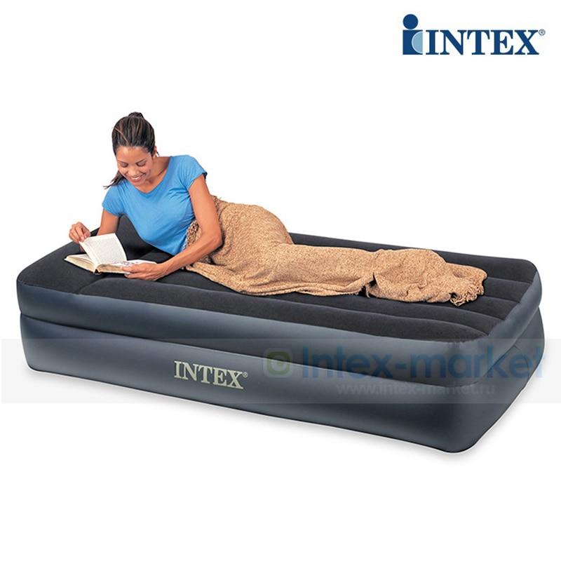 INTEX 64122 nouveauté matelas d'air de luxe pour une personne lit d'air intégré pompe électrique tapis d'air tapis de Camping gonflable