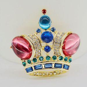Винтажная брошь с красной короной, изысканная Подарочная брошь в стиле кристалино, ювелирные украшения для свадьбы