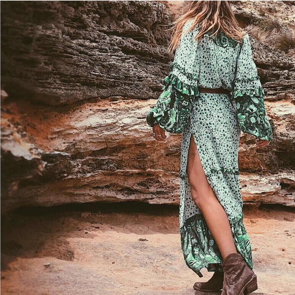 Плюс размер длинное платье с цветочным рисунком Ретро богемное Макси платье сексуальное этническое с глубоким v-образным вырезом цветочный принт пляжные платья Бохо хиппи Халат