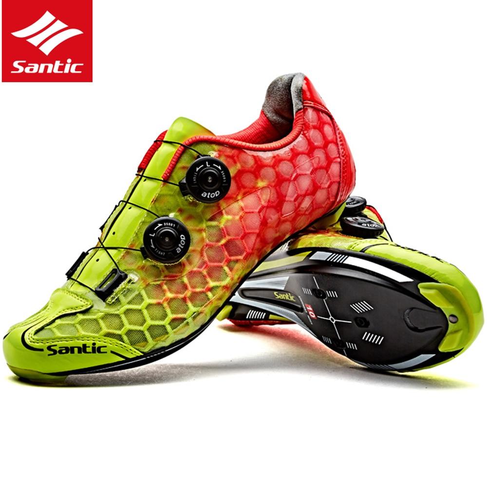 Santic Men Road Cycling Shoes Ultralight Carbon Fiber Auto-locking Athletic Racing Team Bicycle Shoes Cycling Clothings MS17007 santic men cycling road shoes black