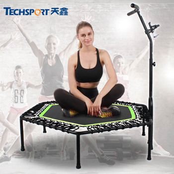 48 Inch Hexagon Mute Durable Professional Fitness Trampoline With adjustable Handrail For Adults Kids Indoor GYM Jump Sports