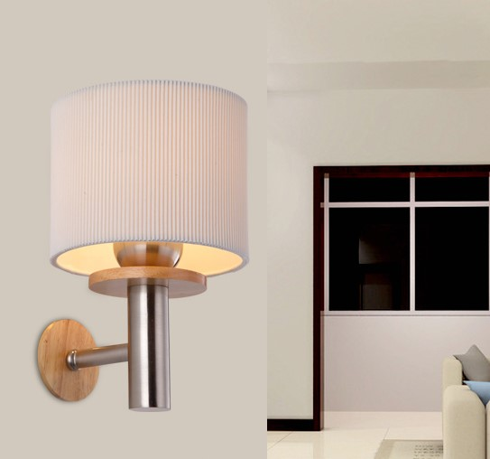 Simple Fabric Tall Wall Light: Simple Modern Wooden LED Wall Lamp Indoor Lighting