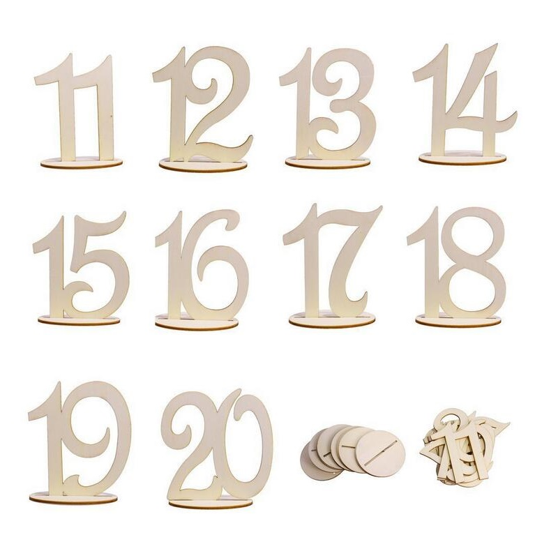 New 1-20 Wooden Table Numbers Set Place Card Holder With Base Banquet Birthday Wedding Party Decoration 50 sets ZA5682