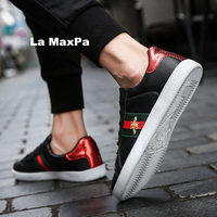 branded men Designer high quality Women's sneakers Ladies red and green striped White shoes flat shoes running shoes for men