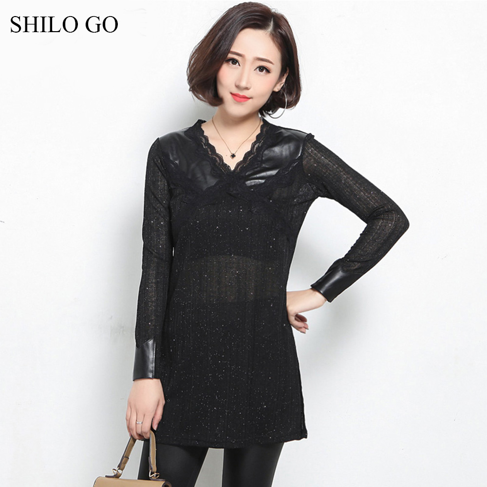 SHILO GO Leather Blouse Womens Summer Fashion sheepskin genuine leather Blouse lace V Neck long sleeve spliced Chiffon blouse working equids of ethiopia