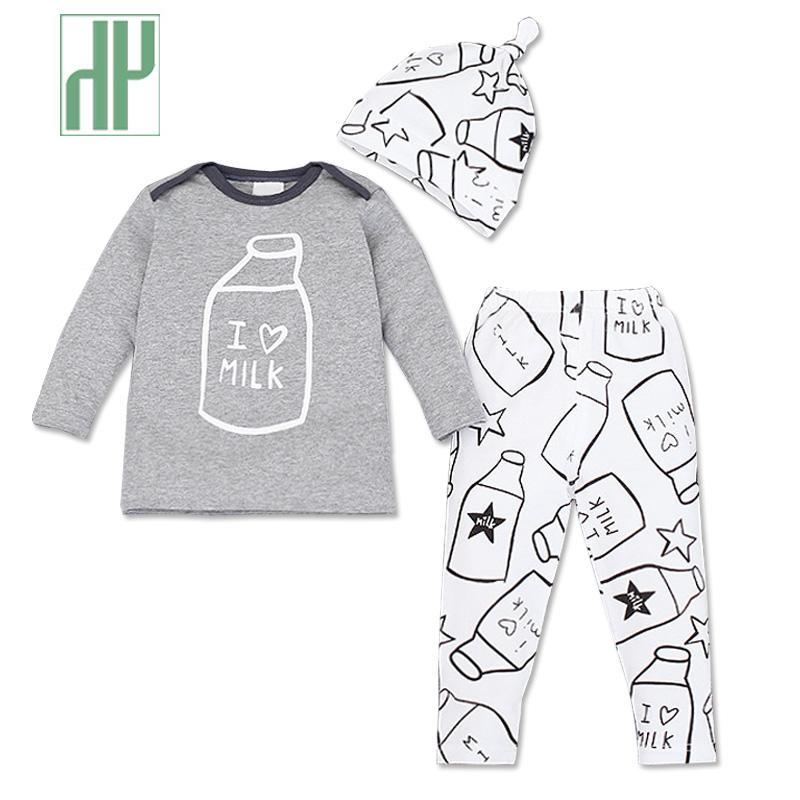 HH Baby boy clothes set printing 3 pcs shirt+Hat+Pants newborn baby girl winter clothes outfits infant baby tracksuit suits