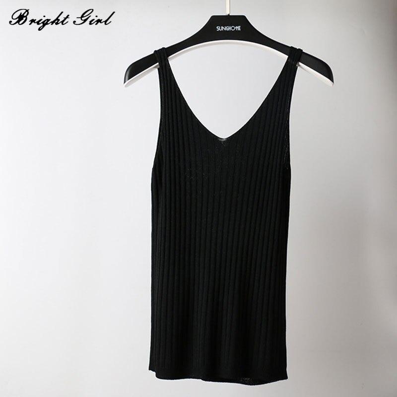 BRIGHT GIRL Summer Women Sexy Tops Knitted Imitation Ice Silk Camis Tank Tops Girls Causal Deep V Neck Sleeveless Knitting Vest