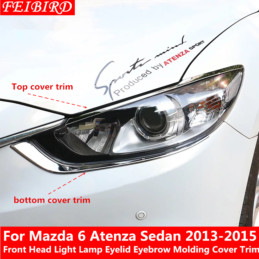 Pair ABS Chrome Front Fog Lamp Eyebrow Cover Trim For MAZDA 6 ATENZA 2013-2015